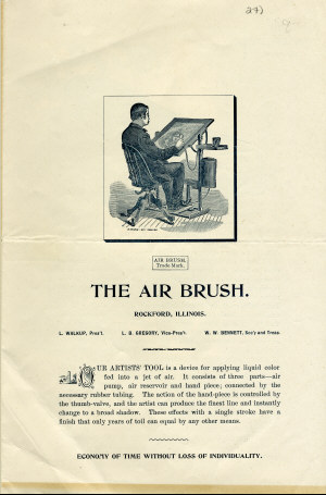 Page 1 of the 1890's Air Brush Mfg. Co. Brochure.