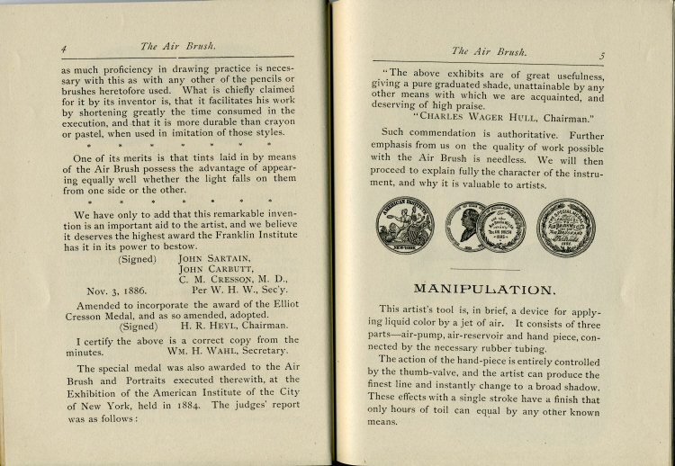 Pages 4 & 5 of the 1880's Air Brush Mfg. Co. Brochure.