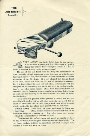 Page 2 of the 1890's Air Brush Mfg. Co. Brochure.
