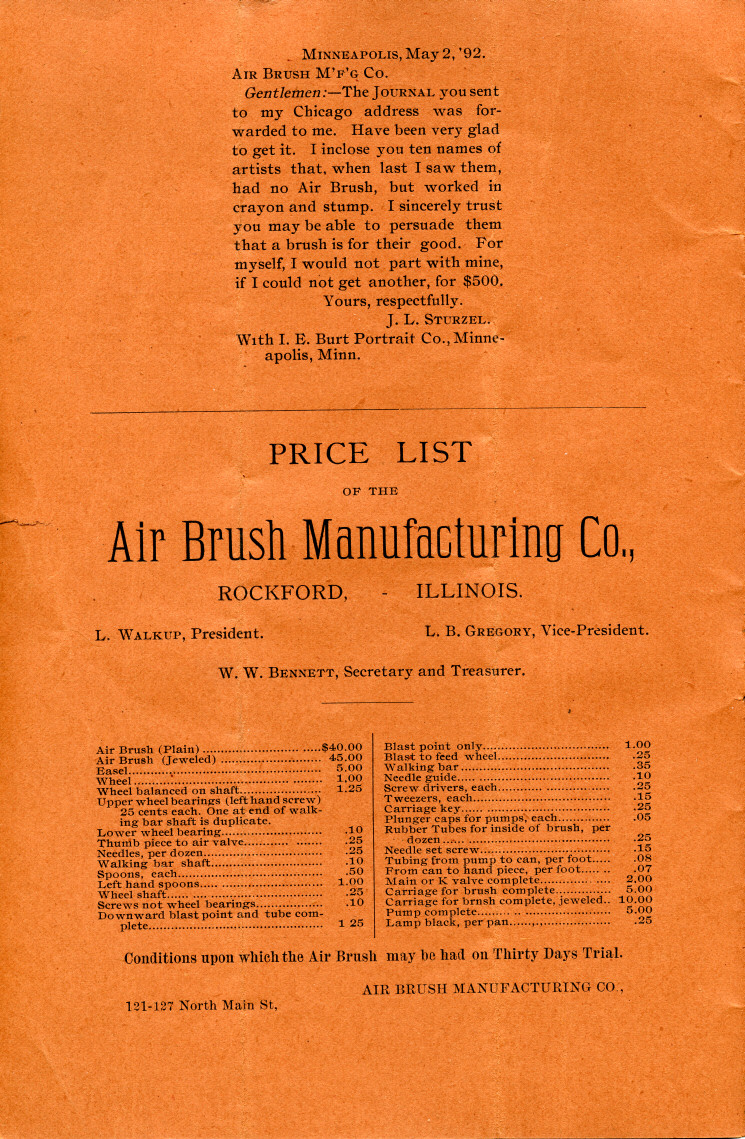 Indise front cover of the 1892 Air Brush Journal magazine by Liberty Walkup & the Air Brush Mfg. Co.