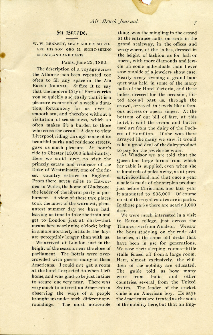 Page 7 of the 1892 Air Brush Journal magazine.