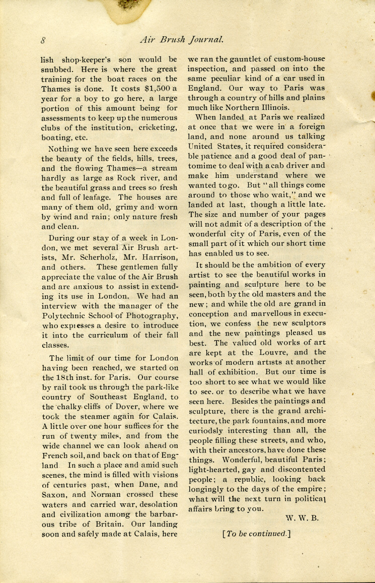 Page 8 of the 1892 Air Brush Journal magazine.