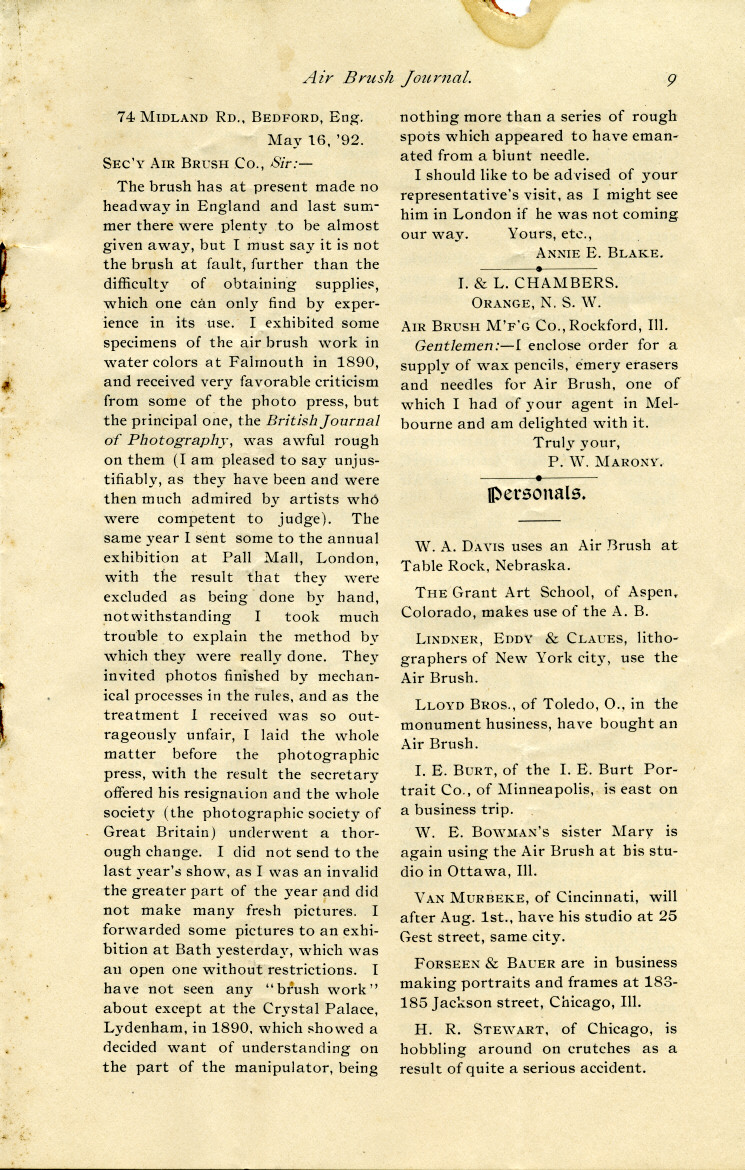 Page 9 of the 1892 Air Brush Journal magazine.