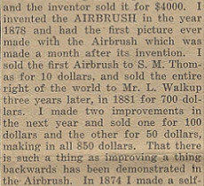 Abner Peeler and his description of the airbrush's early years.